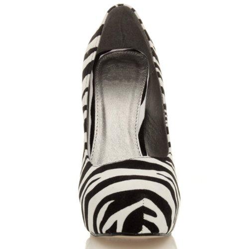 Ajvani, Scarpe col tacco donna Nero (Zebra Suede)