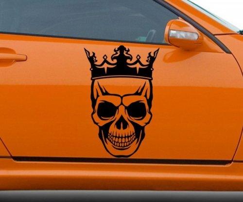 Autoaufkleber Schädel mit Krone König Horror Halloween Aufkleber Auto 5O162, Farbe:Gold glanz;Hohe:50cm