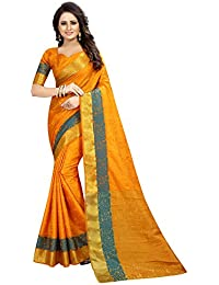 SATYAM WEAVES WOMEN'S ETHNIC WEAR JARI BORDERED COTTON SILK SAREE.