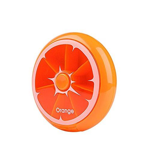 Morepack 7 Tage Pillendose Rund Medikament Box Tablettendose Vitamin Aufbewahrungsbox (Orange)