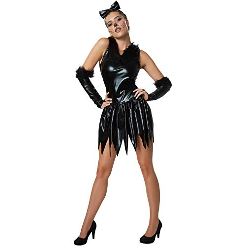 Disfraz de Mujer Gatito Sexy, Vestido Ajustado con Ribete de Piel sintética (XL | No. 302118)