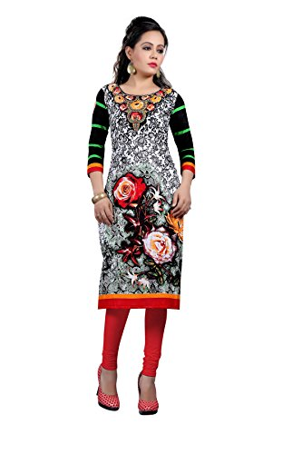 Nakoda Women's Cotton Self Print Unstitched Kurti (1412_Multi-Coloured)