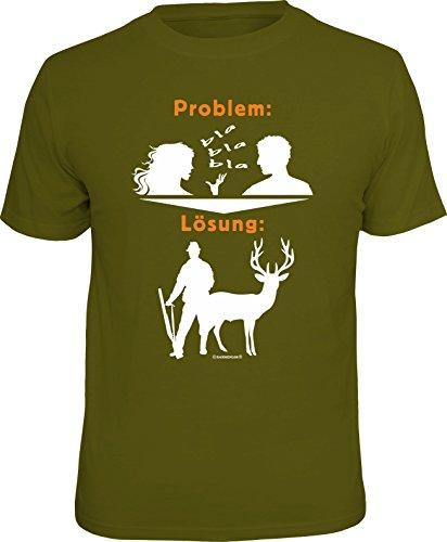 RAHMENLOS Original Geschenk T-Shirt für den Jäger: Problem blabla, Lösung: Jagen M, Nr.1692