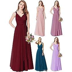 Ever-Pretty Vestido de Fiesta Noche Largo Cuello V Ceremonia Dama de Honor para Mujer Borgoña 44
