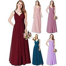 c4ae386cf Ever-Pretty Vestido de Fiesta Noche Largo Cuello V Ceremonia Dama de Honor  para Mujer
