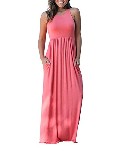 Kleid Tank Pink (Chicolife Womens Girls Sommer Weste Tank Maxi Kleid ärmellos Long Sundress)