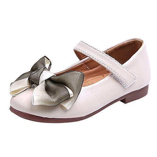 Jaysis Festliche Kinder Mädchen Ballerinas Bogen Schuhe, Zierblume Festliche Mädchen Ballerinas Schuhe mit Klettverschluss in Vielen Farben