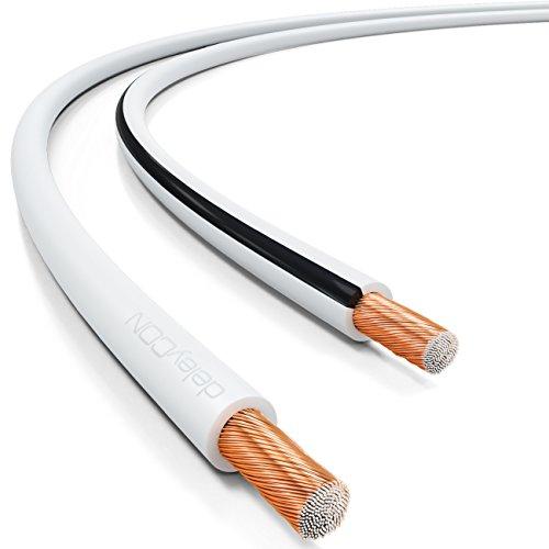 deleyCON 50m Lautsprecherkabel 2X 4,0mm² Boxenkabel CCA Kupferüberzogenes Aluminium 2x56x0,30mm Litze Polaritätskennzeichnung - Weiß