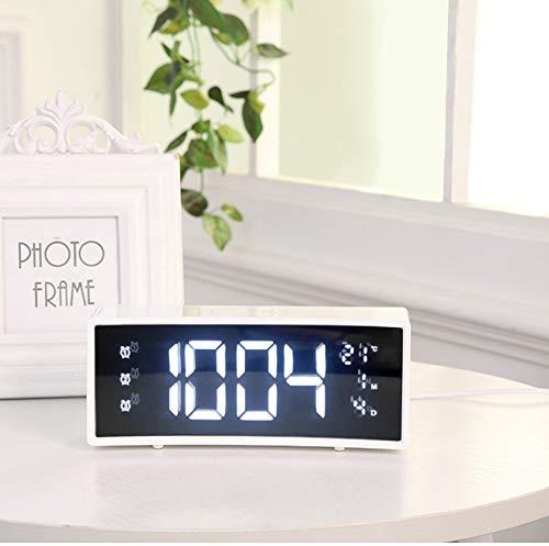 ksjdjok Wecker Wecker Curved Surface Screen Floating-Led-Anzeige Smart Alarm Elektronische Uhr Digitale Led-Uhr Snooze-Funktion Weiß