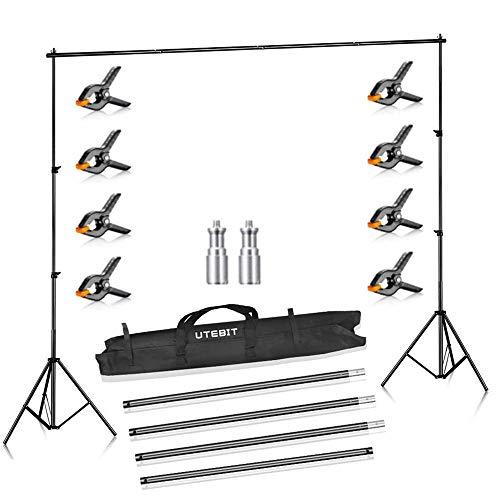 UTEBIT 2 x 2,8M Kit Fondale Fotografico Supporto Fondale Fotografico con Una Borsa da Trasporto e Morsetti a Molla 8 Pezzi per Sfondi di Mussola, Video