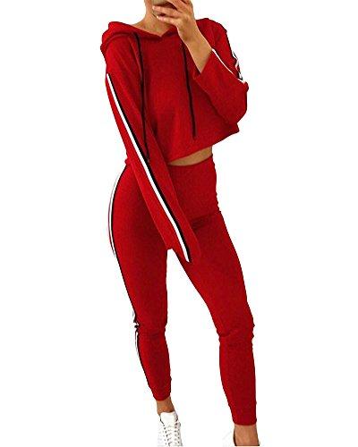 Romacci Damen Zweiteilige Trainingsanzug Mit Kapuze Crop Top Sport Hosen Side Stripes Hohe Taille Trainingsanzug Kapuze Hose Top