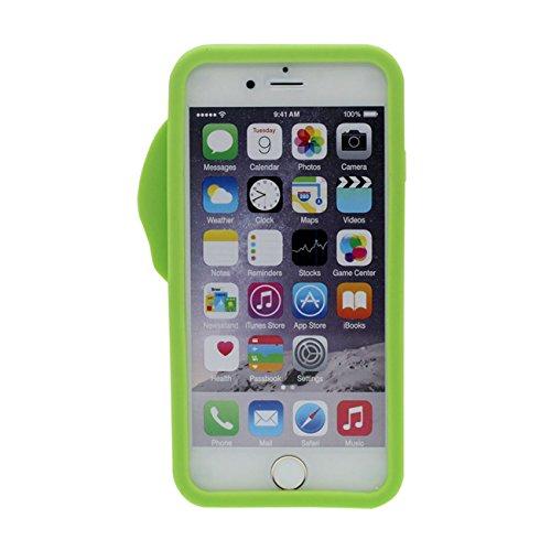 iPhone 6 6S 4.7 inch Coque Étui de Protection Souple Silicone Popular Beau 3D Crème glacée Le soulagement Forme Anti choc Rose avec 1 Silicone Titulaire vert