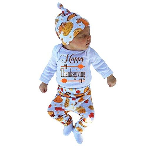 JIANGFU Infant 's Letter Thanksgiving Day Kapuzenpulli Hose Hut 3 Set,Neugeborene Säuglingsbaby-Buchstabe-Spielanzug Tops + Hosen + Hut-Danksagungs-Ausstattungs-Set (70)