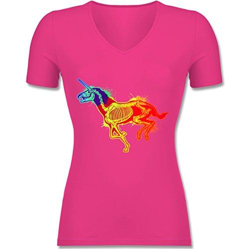 Shirtracer Einhörner - Einhorn Skelett - Tailliertes T-Shirt mit V-Ausschnitt für Frauen Fuchsia