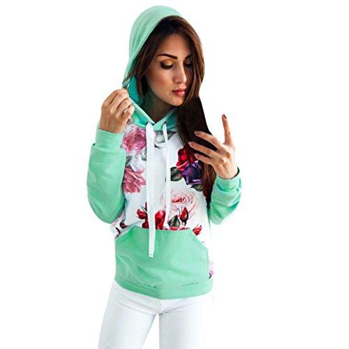 OVERDOSE Mokingtop Damen Floral Splice Printing Rundhals Pullover Bluse Tops T-Shirt (S, Y-Hoodies-62)