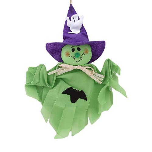 SUNSKYOO Cute Halloween Hängende Geist Dekoration Puppen für Spukhaus Flucht Horror Indoor/Outdoor Halloween Party Hängende Requisiten Dekoration, grün
