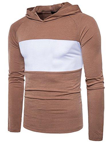 Herren Kapuzen T-Shirts Slim Fit Hoodies Langarmshirts B132 Brown