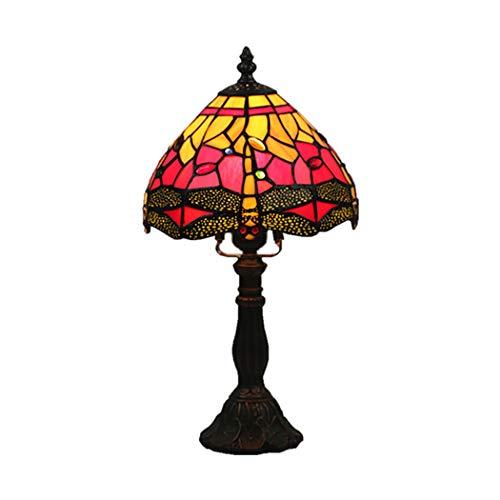 AIBOTY 8-Zoll-Libelle Tiffany Stil Glasmalerei Tischlampe mit Zink-Sockel, handgefertigte Multicolor antiken Schreibtisch neben Schlafzimmer,Red -