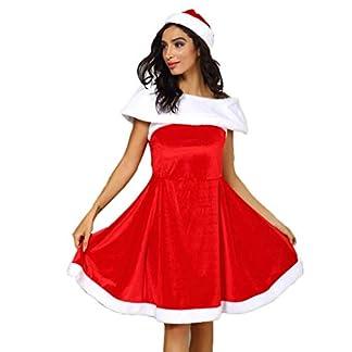 Amphia – Vestido de Navidad para Mujer – Vestidos de Fiesta Mujer Elegante Vestido de Cóctel – Disfraces de Papá Noel para Navidad Traje de Cosplay para Mujer