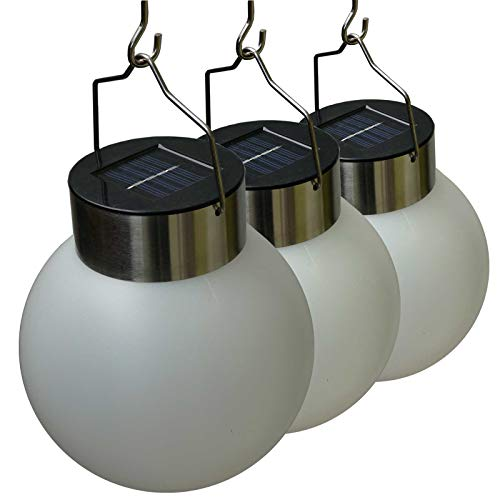 3er Set hängende Lampe Kugel Solarleuchte für Outdoor Garten Party Dekoration (weißes Licht)