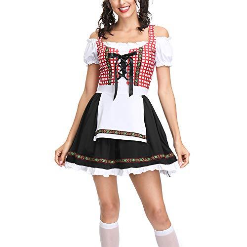 Oyria Erwachsene Damen Bayerisches Oktoberfest Biermädchen Großes Kostüm, Deutsches Dirndl Weibliches Kostüm (Schwarz, M) (Schwarze Weibliche Kostüm)