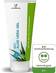 Bio Aloe Vera Gel aus 100% Bio-Anbau (zertifiziert) für natürlich pralle durchfeuchtete Haut   Hyaluronsäure bindet die Feuchtigkeit   bei Hautreizungen, Rötungen, trockener Heizungsluft   100ml