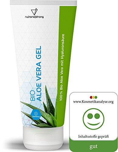 Bio Aloe Vera Gel aus 100% zertifiziertem Bio-Anbau | mit Hyaluronsäure | 100ml After Sun Feuchtigkeitspflege | unterstützt Heilung bei Sonnenbrand, unreiner Haut, Hautreizungen, Insektenstichen
