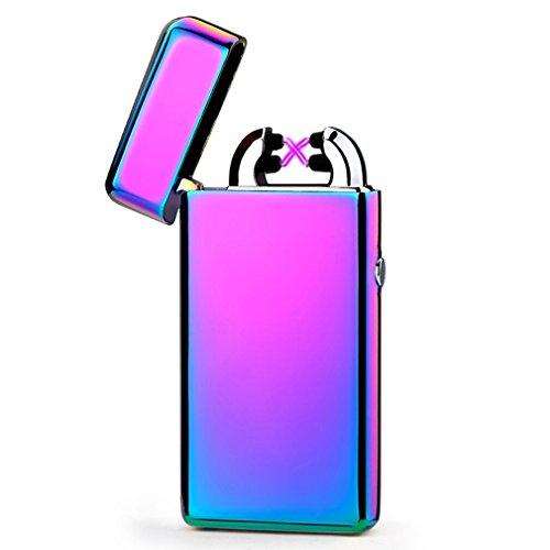 Emsmil USB Electrónico Encendedor Recargable Electrónico Mechero Eléctrico Doble Arco Sin Llama Sin Gas Resistente Al Viento Mechero USB Recargable Lighter - Multicolor