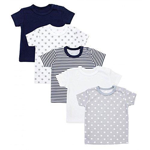 TupTam Baby Unisex T-Shirt Kurzarm Sterne Streifen 5er Set, Farbe: Mehrfarbig, Größe: 92 (Weiß-streifen-baumwoll-shirt)