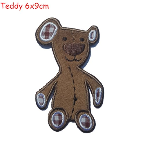 Teddy UK 6x9cm iron-on patch applique to jazz up fabric clothes crafts jeans clothing to sew on backpack jacket dresses plate door bag hat cushion skirt ceiling hat trousers pants cap flag neckerchief bunting scarf to personalize gifts for hobby diy personalized birthday baptism christening birth baby gift toddler kids child children girl boy nursery room clothes iron on patches kids city club football sports application birth christening birthday clothes personally iron on patches se (Label Brown Jeans)