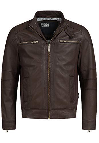 Indicode Herren Germo Lederjacke 100% Lammleder Bikerjacke Jacke Echtlederjacke Dk Brown L - Braun Jacke Aus Leder Herren Für