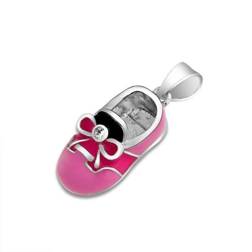 Bling Jewelry Rhodium Rosa Emaille CZ Baby Sattel Schuh Anhänger (Neuen Schuhe Sattel)