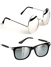 be8c82da114 Younky UV Protected Wayfarer Mercury Unisex Sunglasses (Silver Black) -  Pack of 2