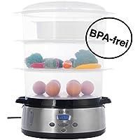 KeMar Kitchenware KFS-700 Dampfgarer, BPA-frei, 6 Automatikprogramme, (9 Liter, 800 W), Warmhaltefunktion, beleuchtetes Display, 3 separate Dämpfschalen à 3 Liter, Timer, Turboring, inklusive Reisschale