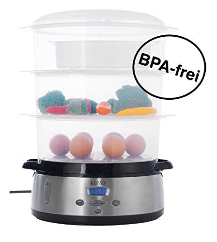 KeMar KFS-700 Dampfgarer, BPA-frei, 6 Automatikprogramme, (9 Liter, 800 W), Warmhaltefunktion, beleuchtetes Display, 3 separate Dämpfschalen à 3 Liter, Timer, Turboring, inklusive Reisschale