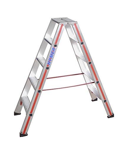 HYMER Stufenstehleiter SC80, beidseitig begehbar, 2 x 5 Stufen, 802410