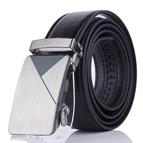 Mens de la correa correas de cuero Negro correa del vestido de trinquete masculino con la hebilla automática para Jeans