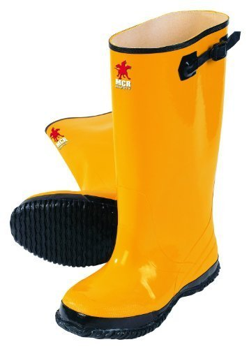MCR Safety BYR1008 Waterproof Rubber Slush Boot with Cleated Outsole, Yellow, Size 8, 1-Pair by MCR Safety (Slush-boot)