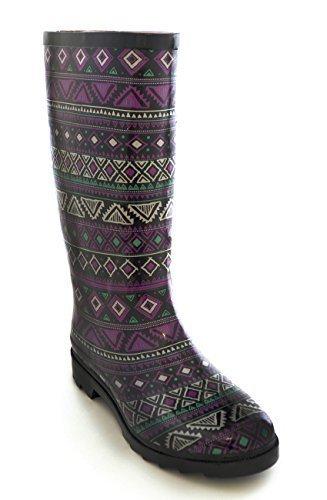 Femmes Imprimé Aztèque Imperméable Bottes En Caoutchouc Imprimé Aztèque