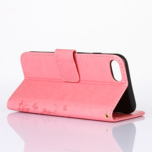 Etsue Custodia Per iPhone 7 Portafoglio,Bella Style Farfalla Modello&Bling Sparkle Diamante iPhone 7 Custodia in Pelle Protettiva,Leather Pu Puro Wallet Flip Case Cover Con Magnetica Chiusura,Stand Fu #9