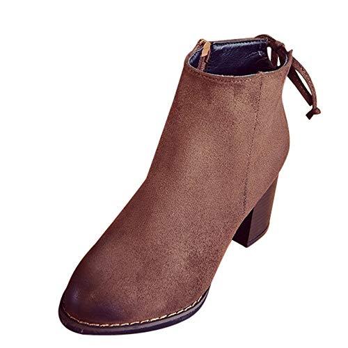 (Sonnena Damen Elegant Warm Flock Heels Winterstiefel Sexy Platz Toe High Heels Einzelne Stiefel Casual Knöchel Niedrige Schlauchstiefel Stiefeletten Booties Schuhe 35-39)