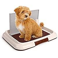 Wotendy Indoor Pet Puppy WC Training Tray with Wall Doggy Training Potty Patch Training Pad Portable Pet Park Corner Toilette for Dogs Easy Cleanup
