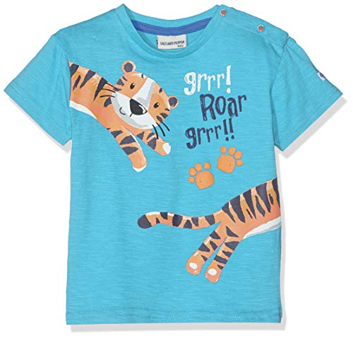 SALT AND PEPPER Baby-Jungen T-Shirt B Jungle Uni puffprint, Blau (Scuba Blue 457) 86