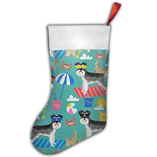 quanzhouxuhuixiefu Schnauzer Summer Christmas Stocking,Craft Holiday Hanging Socks Ornaments Decorations Santa Stockings 50CM