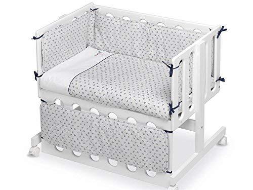 Pirulos 24911604 - Vestidura Minicuna, diseño pirate, algodón, color blanco y gris