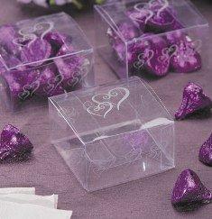 Bulk Buy: Darice DIY Crafts Favor Box klar mit silber Herzen 6,3x 6,3x 2,5cm 12Stück (6er Pack) 1405-022 (Bulk Favor Boxes)