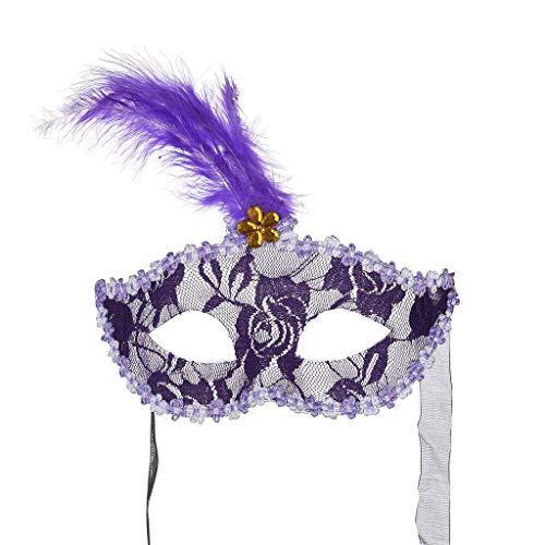 ke Brilliant Masquerade Mask für Damen Oriental Fluffy Feather Venezianische Maskenball Maskerade Valentinstag Party ()
