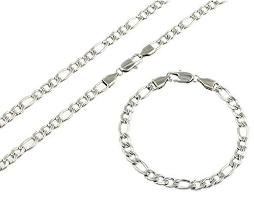 AMDXD Gioielli in acciaio inossidabile Uomo Collana delle donne ed il braccialetto d'argento Figaro catena Lobster Claw catenaccio