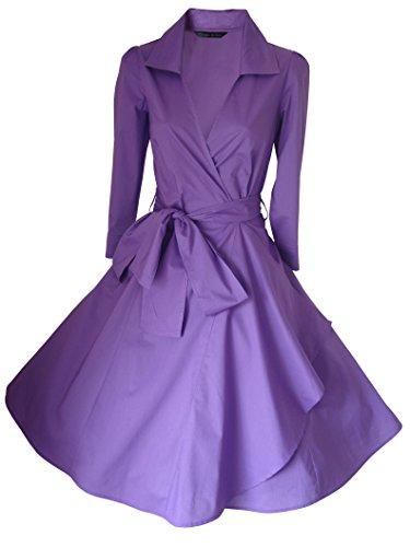 Abito da donna stile vintage, anni '40/'50,Rockabilly/Swing/pin-up, in cotone, a portafoglio, taglie 36–52+ Lilla