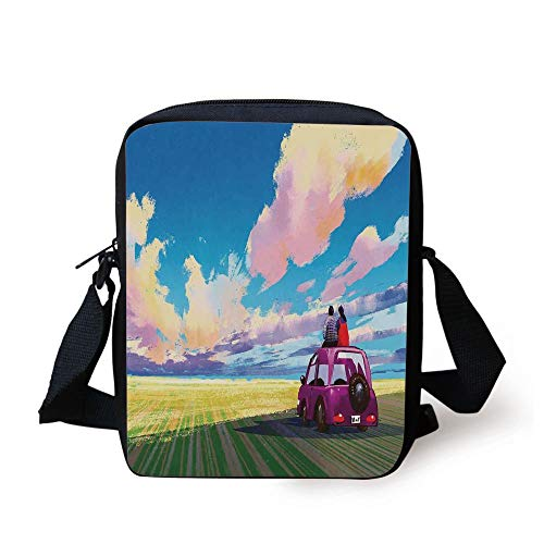 Country Decor,Graphic of Young Couple Sitting on Car in Front of Dramatic Landscape Soul Mates Art Print,Multi Print Kids Crossbody Messenger Bag Purse Key-mate Light